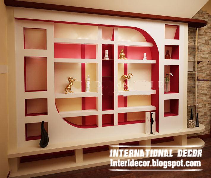 gypsum wall decoration and shelves for living room interior design - Home Interior Wall Design
