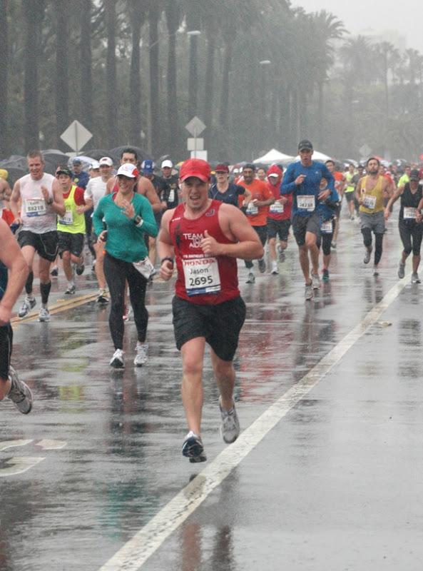 Running torrential rain LA Marathon 2011