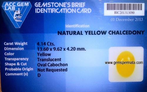 Batu Permata Kalsedon Kuning