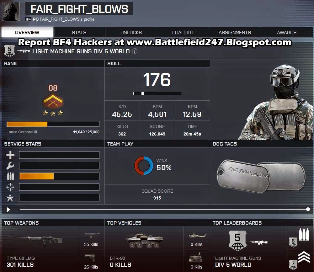 Player FAIR_FIGHT_BLOWS BF4 Aimbot Cheater Caught Stats