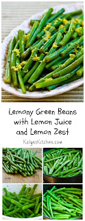 Lemony Green Beans Recipe with Lemon Juice and Lemon Zest [found on KalynsKitchen.com]