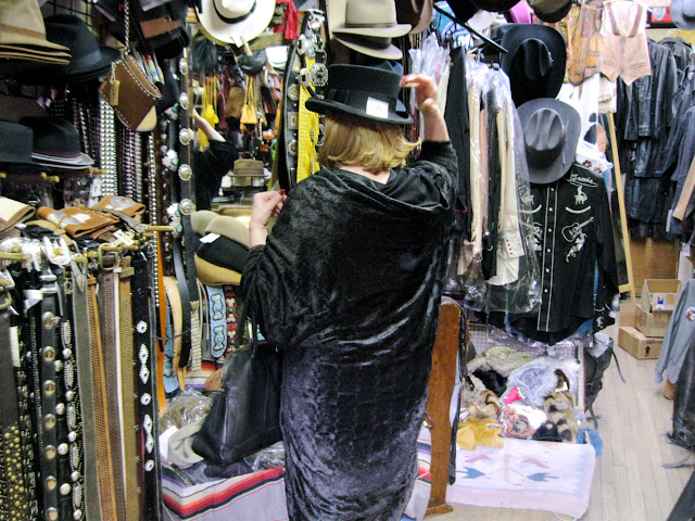 Go ahead try on a leather hat at Native Leather in New York City