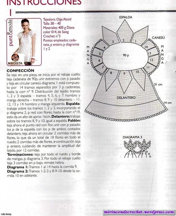CROCHET-madona-mía: Vestido blanco a crochet con padrones y esquema ...