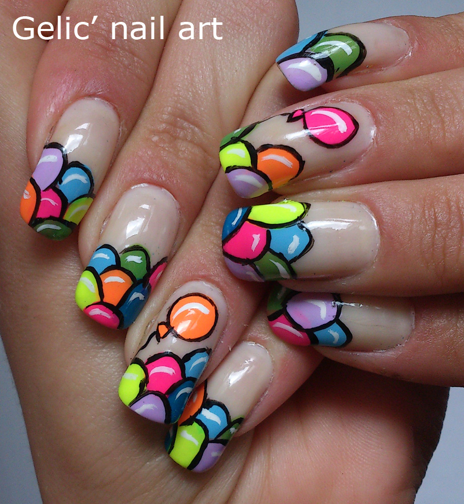 Gelic\' nail art: Balloon funky french/ balloon nail art