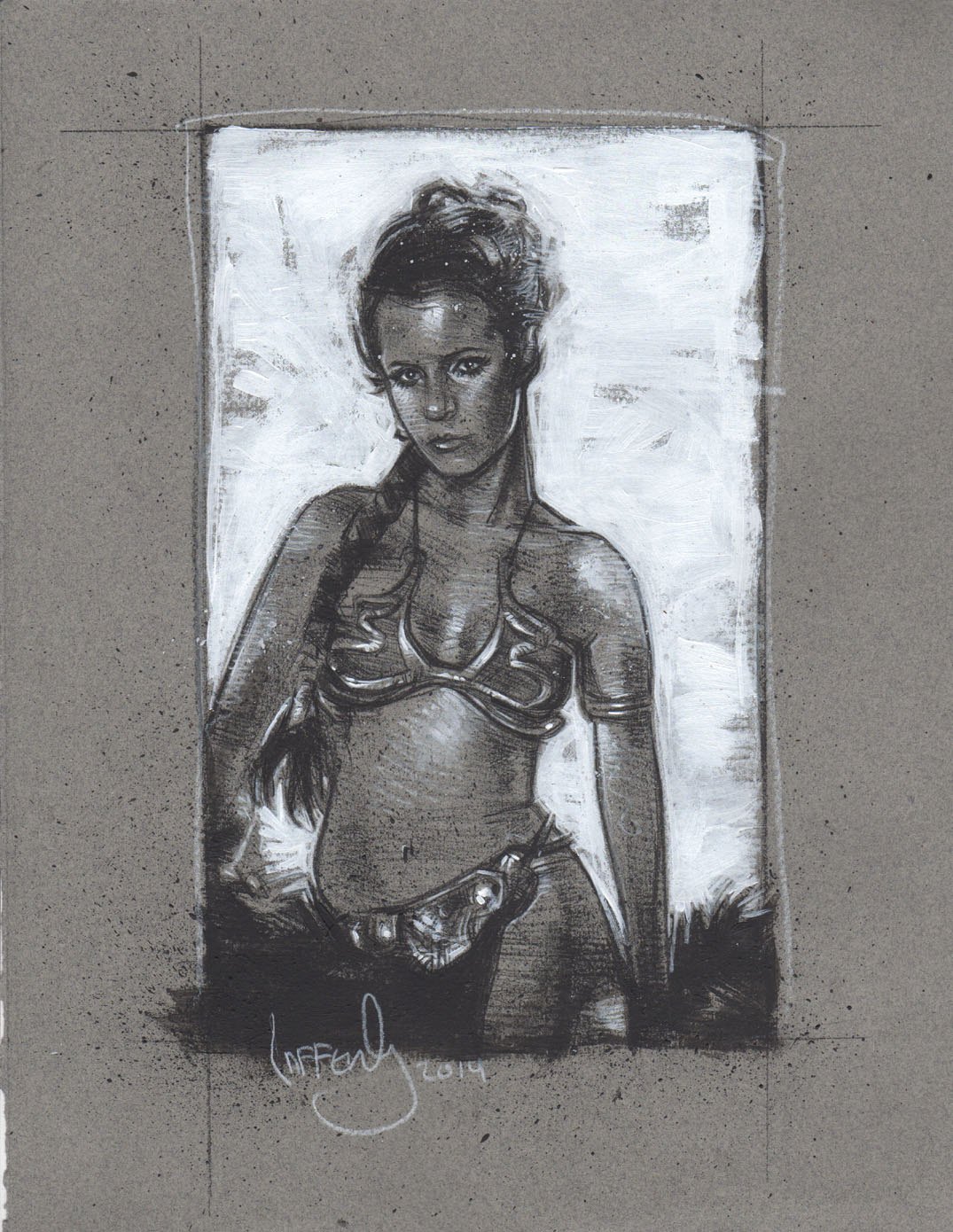 Carrie Fisher as Slave Leia, Artwork is Copyright © 2014 Jeff Lafferty