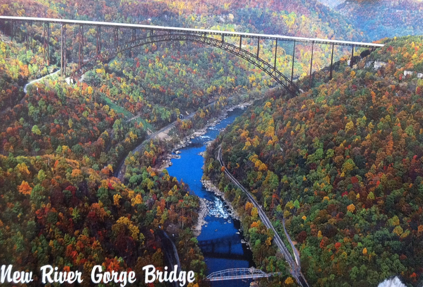 This steel arch bridge hovers over the new river gorge in west