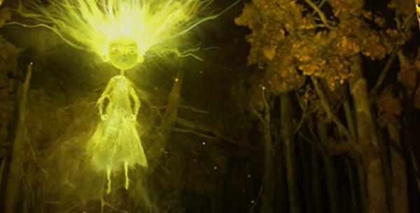 Agata, la strega bambina, divenuta, a causa del rancore, un essere fatto di saette e scariche elettriche