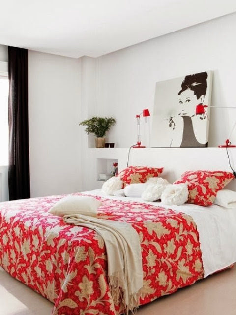 red bedroom textiles, red bed pillows