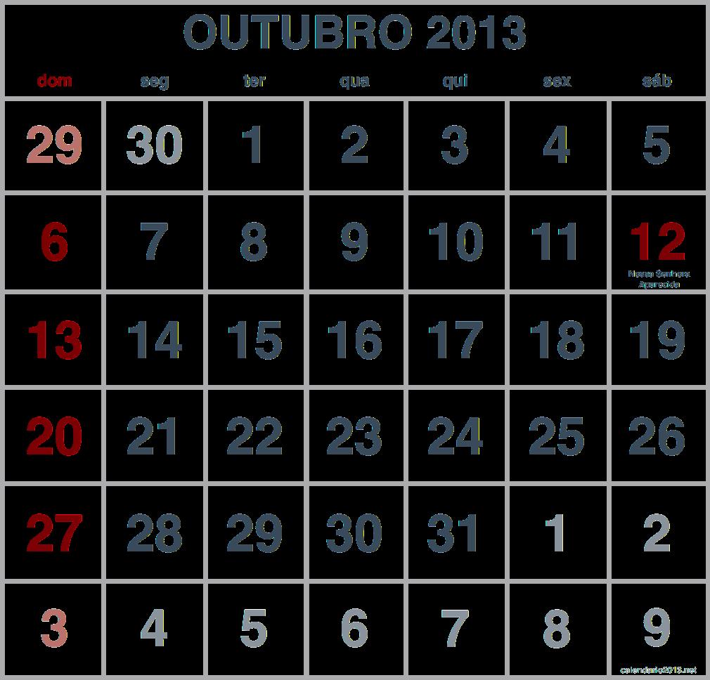 imagem calendario outubro 2013