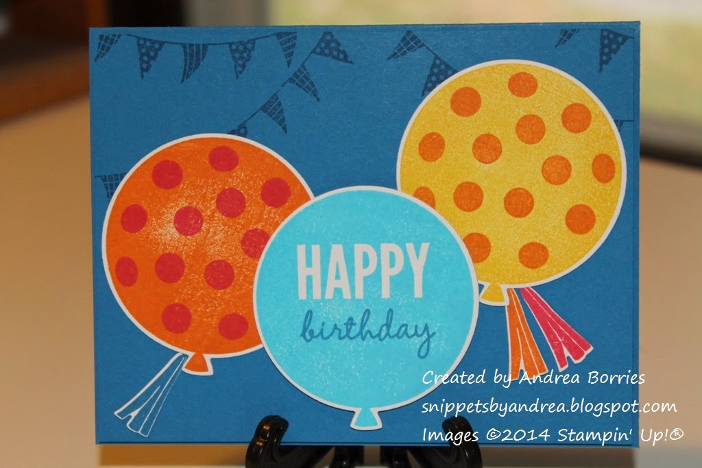 "Birthday card featuring three large balloons (two with polka dots and one with the sentiment ""happy birthday"") on a blue card with banners in the background."