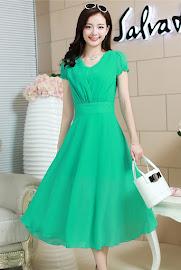 Four-Color Short Sleeve V-neck Summer Chiffon Calf Length Dress