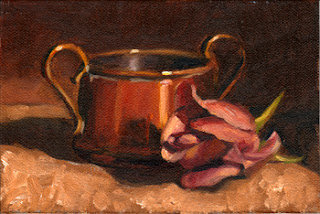 Badly executed oil painting of a pink rose beside a small copper pot.