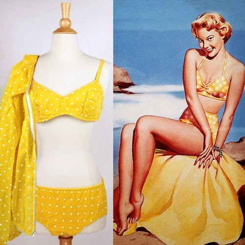 vintage pin up yellow polka dot bikini