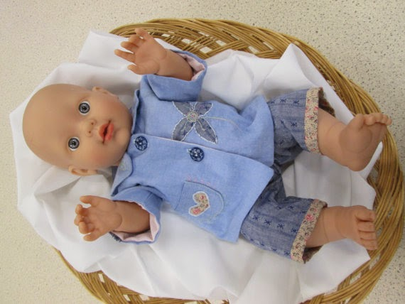 hand embroidered doll outfit in blues and browns by LoveaLittle