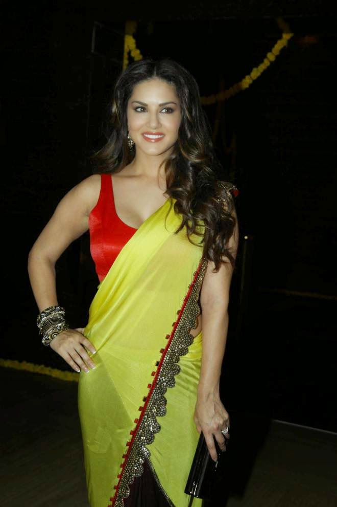 Sunny Leone Hot Cleavage Show Yellow Designer Sarees Photos