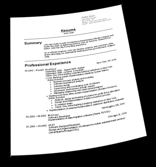 Como preparar un resume para empleo