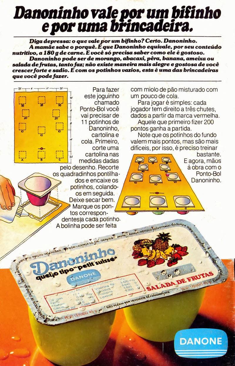 Propaganda do Danoninho que incentivava as crianças a montarem um jogo usando suas embalagens vazias.
