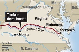 Lynchburg to Yorkton Virginia map.