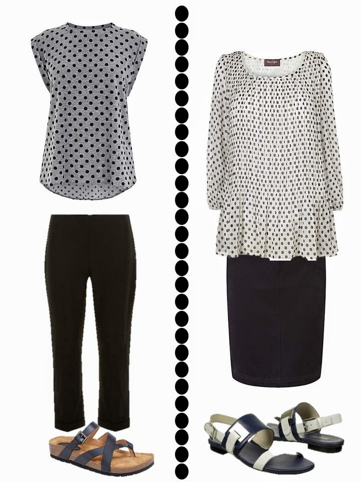 dotted grey tee with black capris and dotted tunic with black skirt