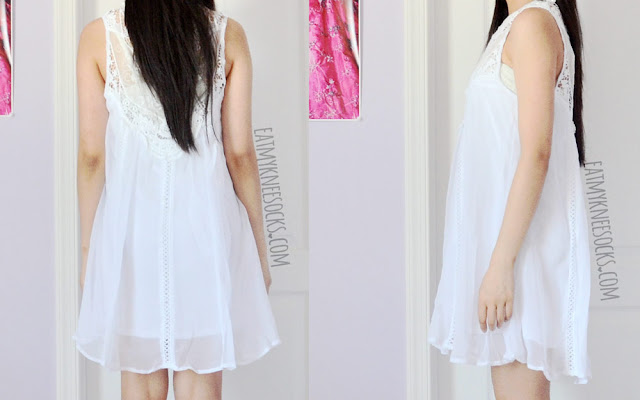 Back and side views of the flowy white chiffon shift lace dress from SheIn.