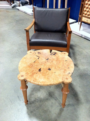 Burl maple coffee table at the New England Home Show