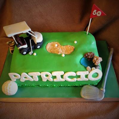 tarta golf; tarta golf fondant; tarta decorada; tarta fondat; golf; palos; lago; carrito golf; hoyo