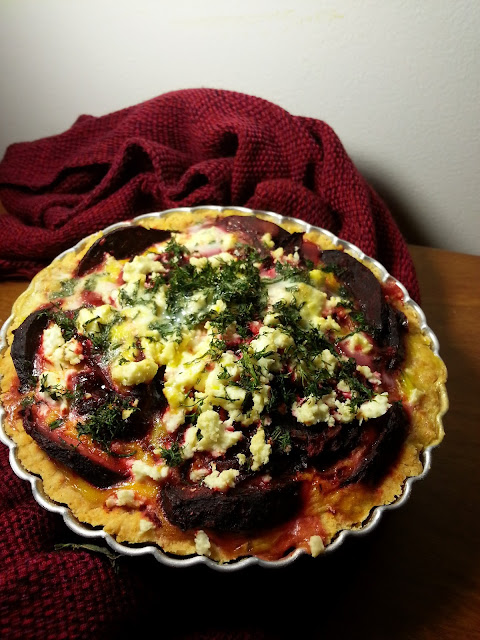 Beetroot Feta Dill Quiche
