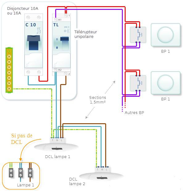 Installation electrique t l rupteur unipolaire for Branchement eclairage exterieur en serie