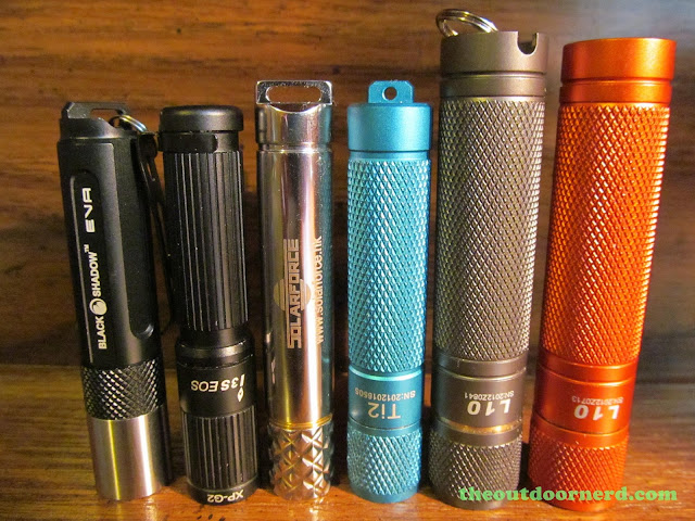From Left: BlackShadow Eva, Olight I3S, Solarforce X3, Thrunite Ti2, L3 Illumination L10 Nichia 219, L10 with XP-G2