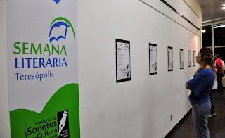Os sonetos finalistas estão expostos no hall da Casa de Cultura