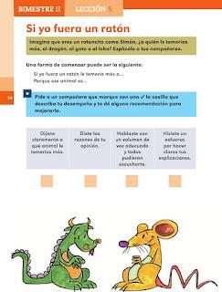 Apoyo Primaria Español 1er grado Bimestre 2 lección 5 Si yo fuera un ratón
