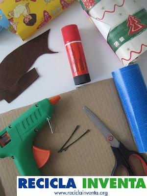 Horquillas con papel de regalo reciclado por Recicla Inventa