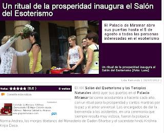 Noticia del diario vasco sobre la inauguración del Salón del Esoterismo