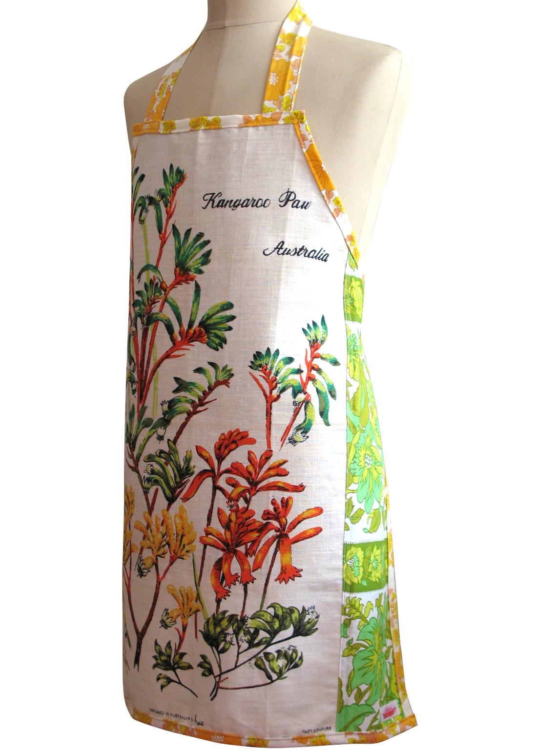 Blue apron australia - Metro Retro Vintage Australian Wildflowers Apron