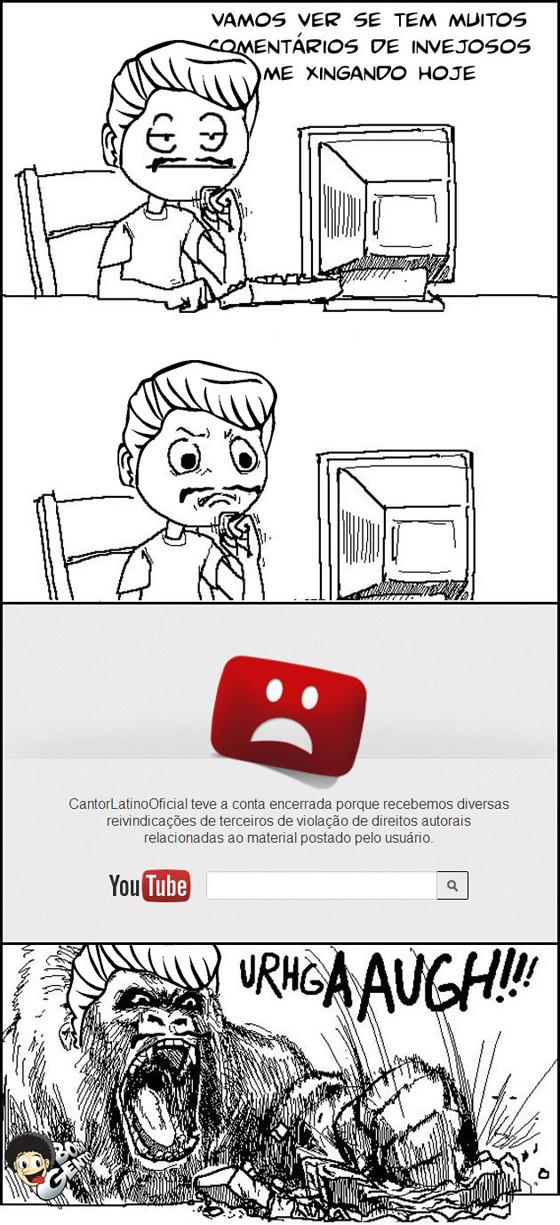 É despedida, do YouTube... Denunciar, fechar, vazar - Latino é exluido do youtube por violação de direitos autorias