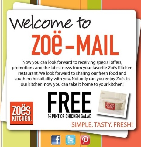 Zoes Kitchen Sign zoe's kitchen: free half-pint of chicken salad | spend less, shop more