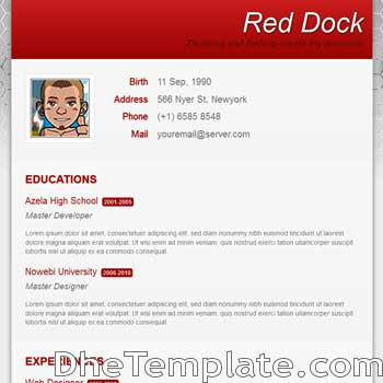 Red Dock blogger template. portfolio blogspot template
