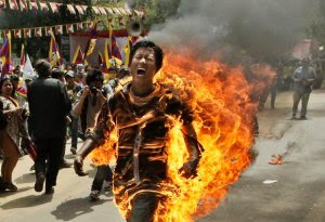 WorldTibetan lights self on fire at anti-China protest