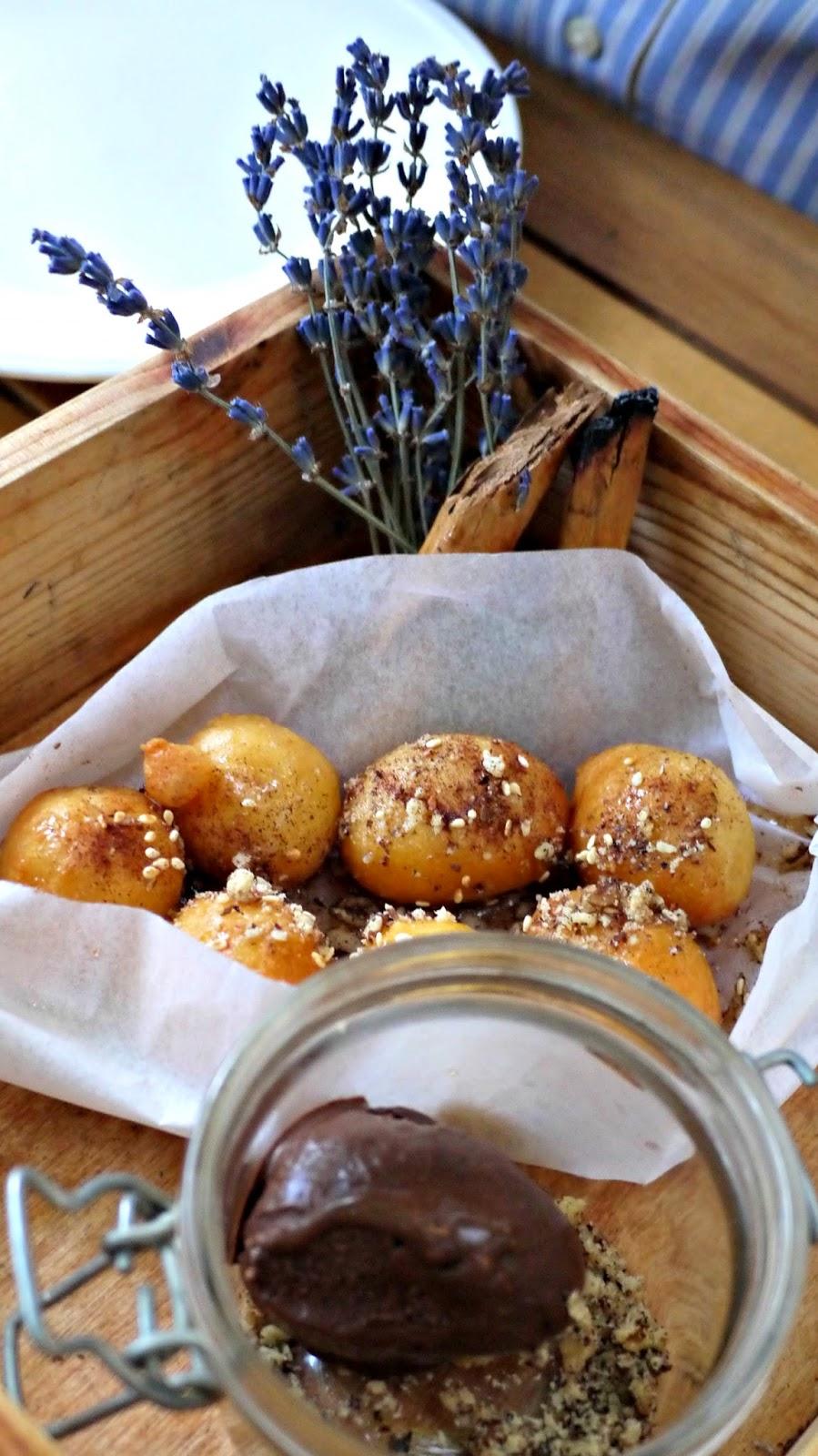 Mazi Loukoumades, lavender honey, and chocolate sorbet