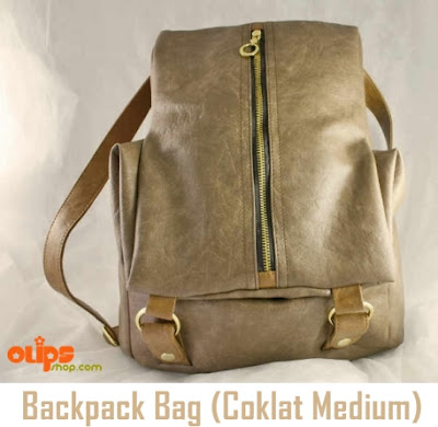 Tas Cewek Backpack Bag Coklat Medium