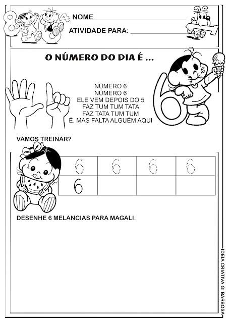 Atividade Numeral 6 Turma da Mônica