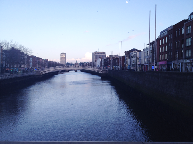 Penny bridge sunset, sundown, dublin, ireland, architecture