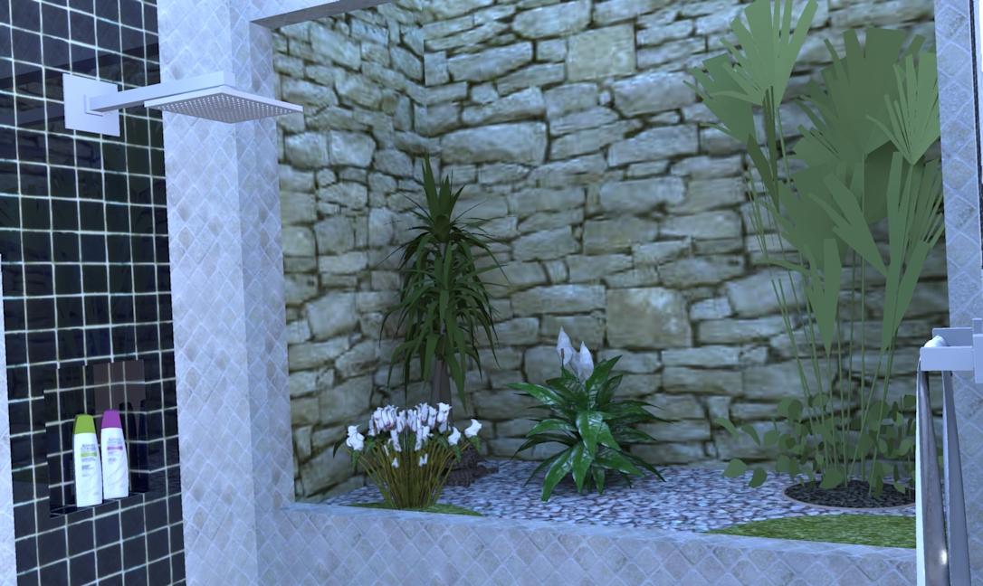 Ana Paula Reducino  Designer Interiores Projeto Banheiro c Jardim de Inverno -> Banheiro Pequeno Com Jardim De Inverno