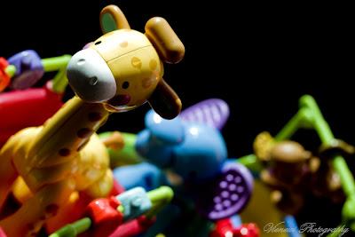 Zabawka zwierzęta z zoo w pociągu, kadr poziomy, inny punkt widzenia, kompozycja