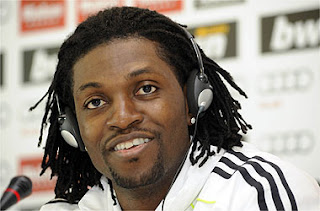 Adebayor during a press conference