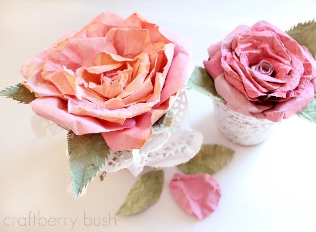 Розы из оберточной бумаги своими руками 14