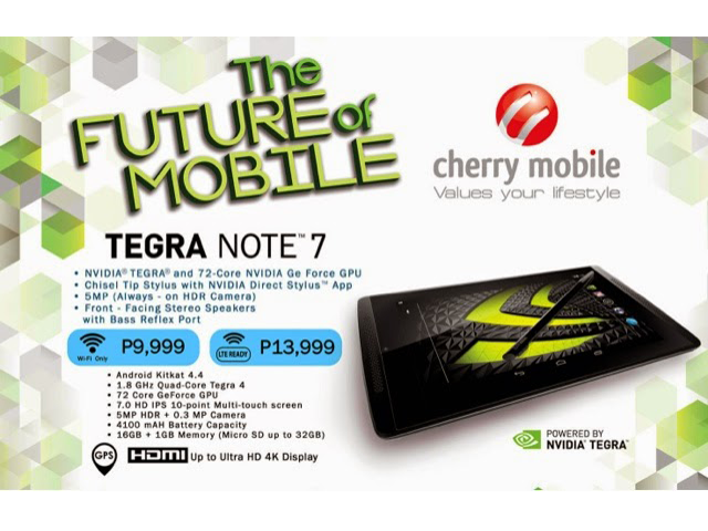 Cherry Mobile Tegra Note 7 LTE for only Php 13,999