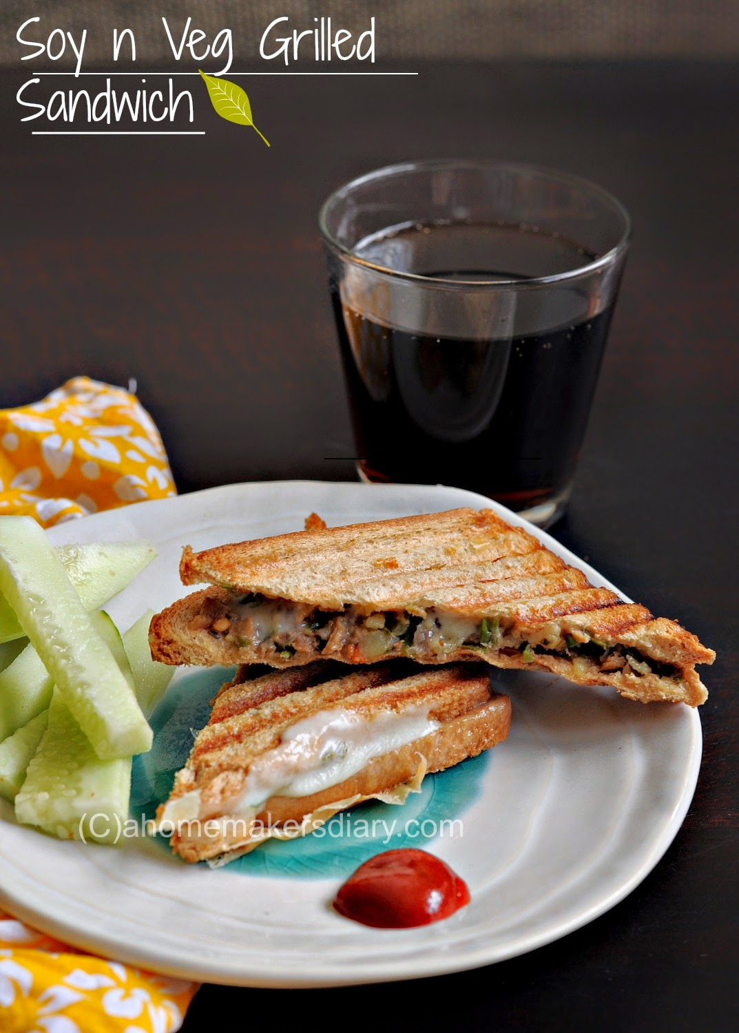 Soy, vegetable and cheese Grilled sandwich