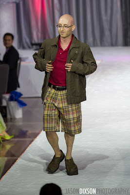 Modeling Eddie Bauer at American Cancer Society's Cure by Design charity fashion show in Washington, DC