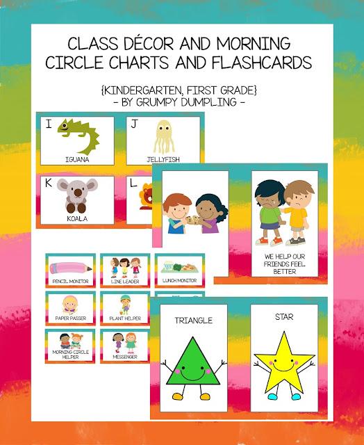 https://www.teacherspayteachers.com/Product/Class-Decor-and-Morning-Circle-Charts-and-Flashcards-kindergarten-first-grade-1922897